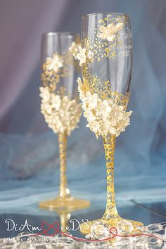 Ivory & gold wedding glasses Art Flowers, lace wedding, bride and groom, personalized toasting flutes, 2 pcs G2/4/11/12-0001