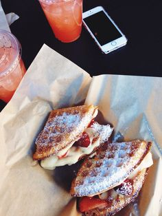 jaydeyfit:youthesque:  lemon cream and berries waffles + strawberry lemonade from bruxie's gourmet waffle sandwiches in huntington beach, california  I NEED