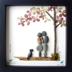 Unique Anniversary Gift- Family of Three - Family of 3 and Dog- New Baby Gift- Pebble Family- Pebble Art by MedhaRode