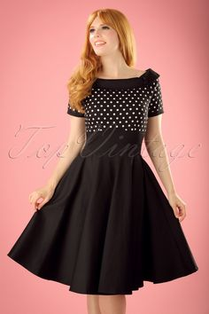 c28865a1327 1940s Pinup Dresses for Sale 50s Darlene Polkadot Swing Dress in Black  £45.28 AT vintagedancer.com