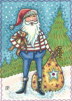 Lumberjack Santa Teddy Bear Original Christmas Art by susanbrack