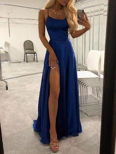 Simple Blue Spaghetti Straps Long Prom Dresses Evening Dress with Thigh Slit Simple Evening Dress, Evening Dress Long, Prom Dresses Blue, Prom Dress Prom Dresses Long Senior Prom Dresses, Navy Blue Prom Dresses, Pretty Prom Dresses, Straps Prom Dresses, Prom Outfits, Prom Dresses Blue, Cheap Dresses, Elegant Dresses, Women's Dresses
