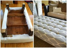 What an impressive way to repurpose a coffee table. Your DIY skills don't have to be legendary to make this ottoman. Great tutorials go a long way and this proves it. If there is an old table laying about and if your space needs something new, definitely try this! How To Turn A Coffee Table Into An Ottoman