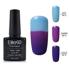 Elite99 3-in-1 Thermal Color Changing Nail Gel Polish Soak Off UV LED Base Top Professional Beauty Choices Gel Nail Pick 1 Color