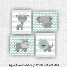 Mint and gray jungle animals nursery prints lion hippo giraffe Baby Animal Nursery, Giraffe Nursery, Nursery Prints, Nursery Wall Art, Mint Nursery, Jungle Nursery, Chevron Baby Rooms, Baby Boy Rooms, Baby Boy Nurseries
