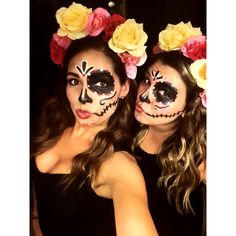 sugar skulls for Halloween | costumes | best friends | DIY | @lox311