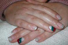 LCN #gelnails #bling #silver #red #christmas #white #green