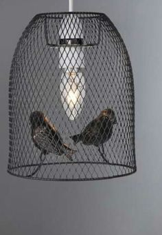 Grey Metal Wire Birds Birdcage Ceiling Light Pendant Shade Lightshade