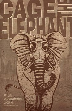 The design of the elephant in a gas mask is clever and links in well with the name of the band.