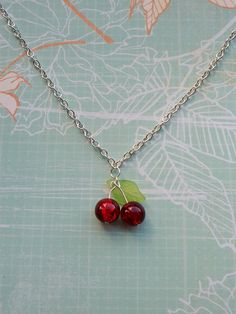 Rockabilly Cherry NecklaceRed Charm NecklaceCostume JewelryPin Up