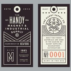 Tags I made for Handy supply co. #tag #design #stevewolfdesigns #typography