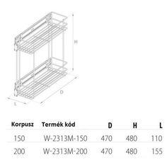 Tárolók/Kosarak/Fémrácsok | Oldalra szerelhető kihúzható tároló 150mm | B.Q. Kft. Bútorszerelvény