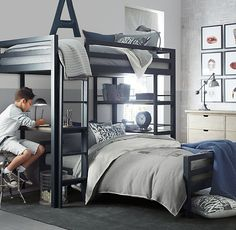 Deciding to Buy a Loft Space Bed (Bunk Beds). – Bunk Beds for Kids Bunk Beds For Girls Room, Bunk Bed Rooms, Loft Bunk Beds, Bunk Bed With Desk, Modern Bunk Beds, Bunk Beds With Stairs, Kid Beds, Boy Bedrooms, Shared Bedrooms