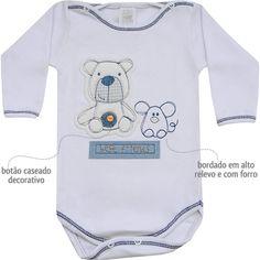 Body Masculino para Bebê Little Bear Branco - Patimini :: 764 Kids | Roupa bebê e infantil