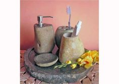 Set of River Stone Bathroom Accessories