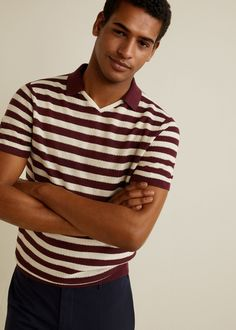 Discover the latest trends in Mango fashion, footwear and accessories. T Shirt Polo, Mens Polo T Shirts, Golf Shirts, Rugby Outfits, Surfer Guys, Golf Wear, Mango Fashion, Polo Neck, Striped Linen