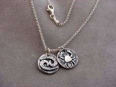 Sterling Silver Cancer Zodiac Sign Necklace by SergioAntonio, $35.00