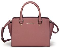 Michael Kors Selma Dusty Rose Medium Satchel Leather Handbag 30S3GLMS2L NEW
