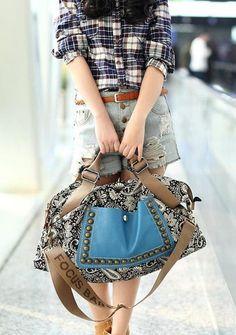 Women's vintage printing rivet embellished canvas handbag single shoulder bag