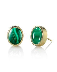 The Malachite Stud Earrings by JewelMint.com, $40.00