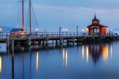 Seneca Lake pier, in Watkins Glen, New York. In the Finger Lakes region of New York state.