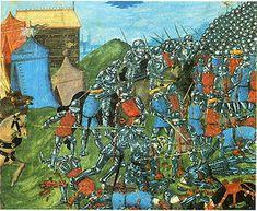 """The battle of VOUILLE in 507 - CLOVIS 1°. 3) BIOGRAPHIE. 3.5.2: LA BATAILLE DE VOUILLE, 2: Au printemps 507 les Francs lancent une offensive vers le S, franchissent la Loire vers Tours pendant que les alliés Burgondes attaquent l'est.  Les Francs affrontent l'armée du roi ALARIC II dans une plaine proche de Poitiers. La bataille dite de """"VOUILLE"""", est terrible selon l'historiographie, et les Wisigoths se replient après la mort de leur roi, Alaric II, tué par Clovis lui-même en combat…"""