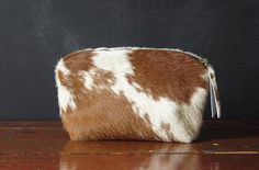 12inch Zipper Pouch brown and white hair on hide by Beesnetta, $65.00