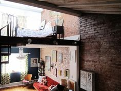 Cute split level loft - so homely and full of character.