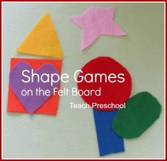 Simple shape games on the felt board: estimating, naming, building, what's missing, stand up and sit down. {Teach Preschool}
