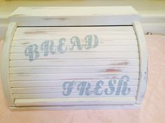 Handmade Distressed Wooden Bread Box White And Turquoise