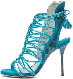 Sophia Webster 'Lacey' Tie-Up Heels in Turquoise Metallic