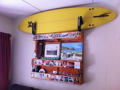 Surfboard/wine/picture/ornament/photo display rack from old Weare pallet.