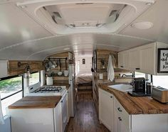 It Used To Be a School Bus … Now It's a Cozy Loft On Wheels! When most of us think of buying a house, we turn to the real estate classifieds—but not Felix Starck and Selima Taibi of Expedition Happiness. Used School Bus, School Bus Tiny House, Converted School Bus, Bus Living, Living Room, Expedition Happiness, Interior Motorhome, Bus Interior, Interior Photo