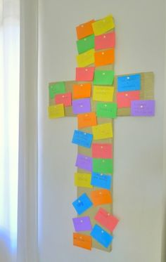 "DIY cross for the Holy Week. So kids are aware that Jesus was crucified for our sins, we each write our sins down and ""nail"" the pieces of paper to the cross with thumb tacks."