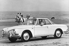 VW Type 3 Karmann Ghia 1500 Coupe, 1962 - love this vintage beach photo with horses and a dog in the background