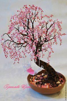 Купить Сакура из бисера - розовый, Дерево из бисера, Дерево счастья, дерево любви, интерьерное украшение