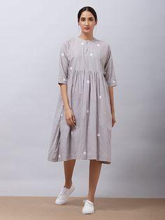 Grey Polka Hand Block Printed Khadi Cotton Dress with Mulmul Slip Embroidery On Kurtis, Kurti Embroidery Design, Linen Dresses, Cotton Dresses, Cotton Linen, Printed Cotton, Frock Patterns, Kurta Designs Women, Cotton Pants