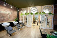 Hale Salon NYC. Organic salon designed with architectural salvage