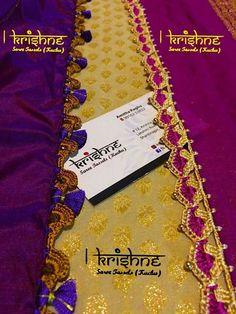 Saree Tassels Designs, Saree Kuchu Designs, Blouse Designs Silk, Embroidery Stitches Tutorial, Hand Embroidery, Embroidery Designs, Thread Crochet, Crochet Lace, Saree Border