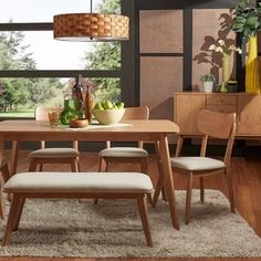 Penelope Danish Modern Natural Oak Dining Set iNSPIRE Q Modern with four side chairs + one bench), Brown, Size Sets Oak Dining Sets, Modern Dining Chairs, Dining Chair Set, Dining Room Table, Small Dining, Dining Area, Minimalist Dining Room, Danish Modern, Room Set