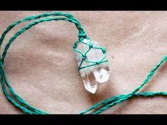 collar con  cuarzo en macramé how to wrap stone quarz theartemanual