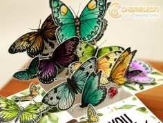 Chameleon Pens Blog: A Card To Get You All A Flutter #boxcard #PDF #template