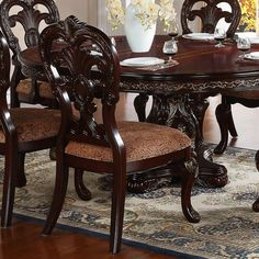Astoria Grand Chalus 7 Piece Extendable Dining Set & Reviews | Wayfair Double Pedestal Dining Table, Antique Dining Tables, Metal Dining Table, Dining Chair Set, Dining Room Chairs, Dining Furniture, Kitchen Chairs, Office Chairs, Dining Rooms