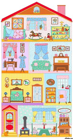 Penny's Dollhouse Quilt Panel by Darlene Zimmerman for Robert Kauffman Paper Doll House, Paper Houses, Diy And Crafts, Crafts For Kids, Paper Crafts, Dollhouse Quilt, Christmas Story Books, Paper Dolls Printable, House Drawing