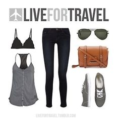 My must-have travel outfit for the summer.A light tank-top, a big bag, sunglasses and a comfy pair of Vans.It's perfect for the city, the country, crazy adventures or a leisurely lunch. What's yours? #traveloutfit
