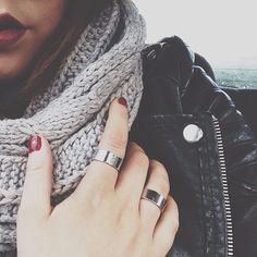 dark red lips, black leather jacket, infinity scarf