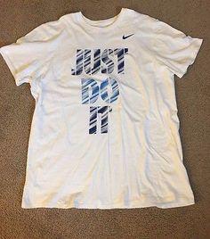Nike Men's The Nike Tee Athletic Cut T Shirt White Blue Just Do It XXL 2XL  | eBay
