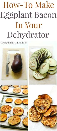 How-To Make Eggplant Bacon In Your Dehydrator - Vegan deliciousness - Raw Food Recipes Raw Vegan Recipes, Vegetarian Recipes, Healthy Recipes, Dehydrated Food Recipes, Raw Vegan Dinners, Dehydrated Vegetables, Vegan Food, Healthy Snacks, Healthy Eating
