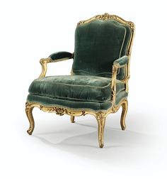 A CARVED GILTWOOD ARMCHAIR, LOUIS XV,