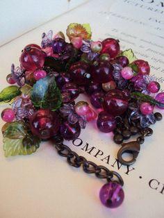 Vintage Charm Bracelet Glass Beaded Fruit by primitivepincushion